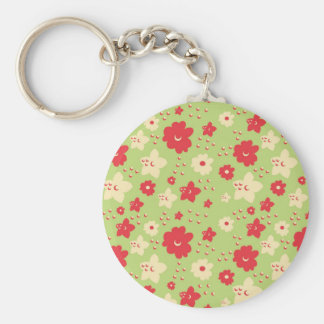 Flower Petal Green and Pink Vintage Print Basic Round Button Keychain