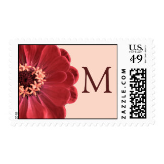 Flower Petal (pink) Monogram Designer Postage