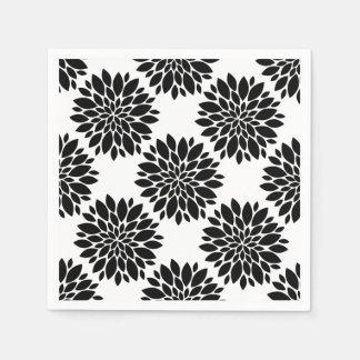 Flower Petals Graphic Black White Custom Color Napkin