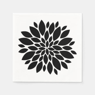 Flower Petals Graphic Black White or Custom Color Paper Napkin