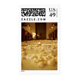 Flower petals on floor of church stamps
