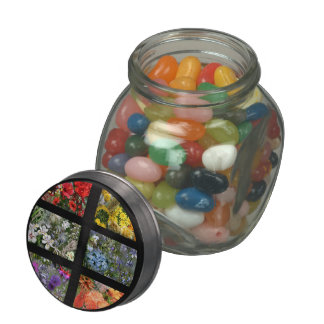 Flower Photo Collage in Black Frame Glass Candy Jar