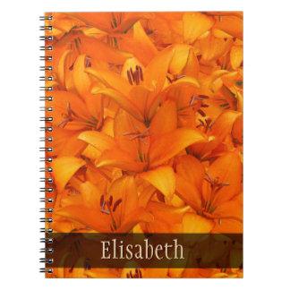 Flower Photo Orange Garden Lilies any Name Spiral Notebook