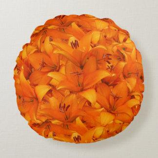 Flower Photo Orange Garden Lilies Round Pillow