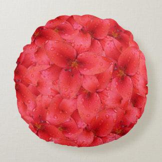 Flower Photo Red Garden Lilies Round Pillow