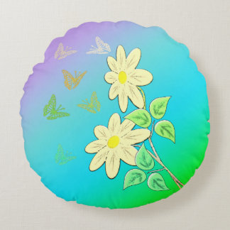 Flower picture round pillow