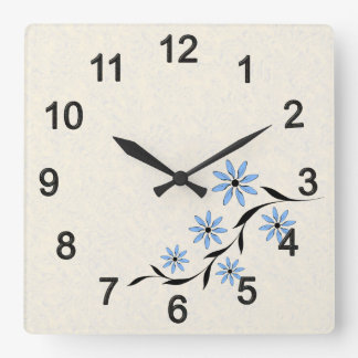 Flower picture square wall clock