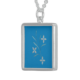Flower picture sterling silver necklace