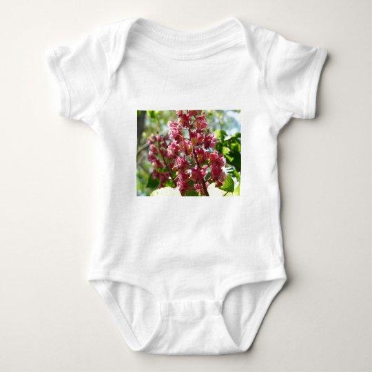 flower,pink baby bodysuit