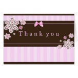 Flower Pink & Brown Thank You Card