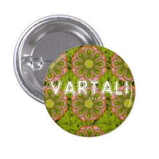 Flower Pink Green Pattern Vartali Round Button