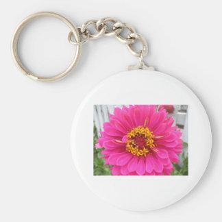 flower,pink state fair zinnia basic round button keychain