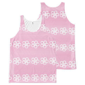 Flower pink white girly pattern All-Over print tank top