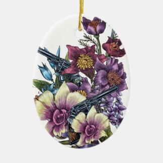 Flower Pistol Guns Ceramic Ornament
