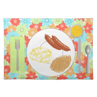 Flower placemat with plate, glass, flatware & food