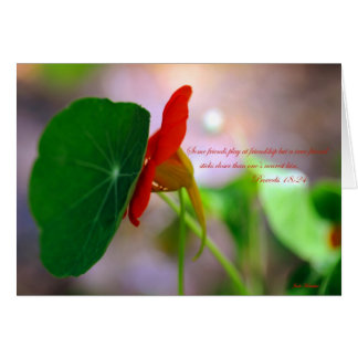 Flower & Plant lean on each other. Card