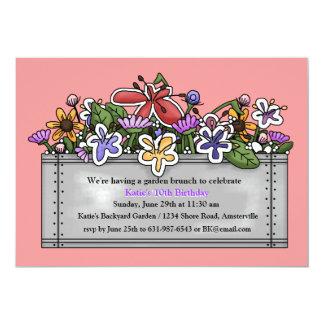 """Flower Planter Invitation (You Pick Color) 5"""" X 7"""" Invitation Card"""