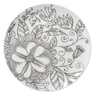 Flower Plate Pattern -Black and White