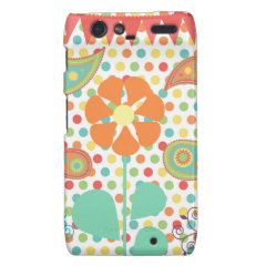 Flower Polka Dots Paisley Spring Whimsical Gifts Motorola Droid RAZR Case