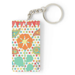 Flower Polka Dots Paisley Spring Whimsical Gifts Acrylic Keychain