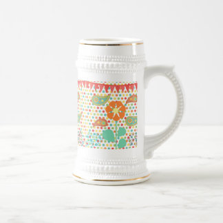 Flower Polka Dots Paisley Spring Whimsical Gifts 18 Oz Beer Stein