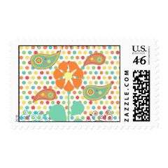 Flower Polka Dots Paisley Spring Whimsical Gifts Postage Stamp