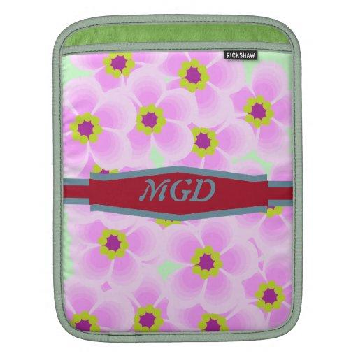 Flower pop art shades of pink with monogram iPad sleeve