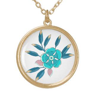 Flower Pop in Blue Round Pendant Necklace