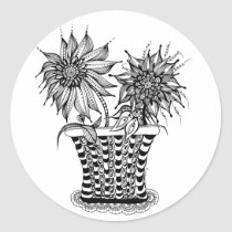 artsprojekt, doodle, flower, pot, spring, potted, flowers, floral, coloring book, plants, whimsy, drawing, unique, original, drawn, white, black, ink, plant, flora, nature, pots, whimsical, artist, creative, Sticker with custom graphic design