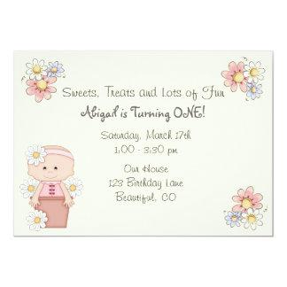 Flower Pot Baby 1st Birthday Invitations for Girls