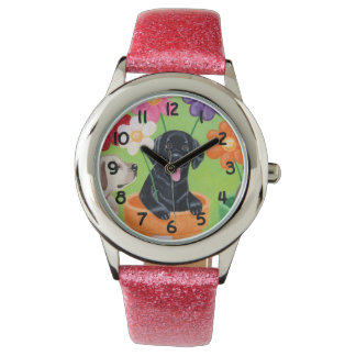 Flower Pot Black Lab Puppy Painting Wrist Watches