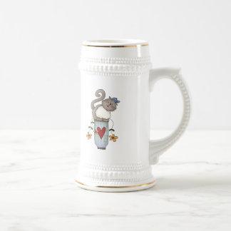 Flower Pot Cat 18 Oz Beer Stein