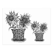 artsprojekt, doodle, flower, pot, spring, potted, flowers, blooms, floral, nature, plants, whimsy, customized, drawing, unique, original, drawn, white, black, ink, plant, flora, pots, whimsical, Postcard with custom graphic design