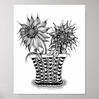 Flower Pot Doodle art Poster