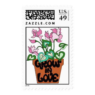 Flower Pot Grow in Love Postage