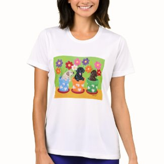 Flower Pot Lab Puppies Painting shirt