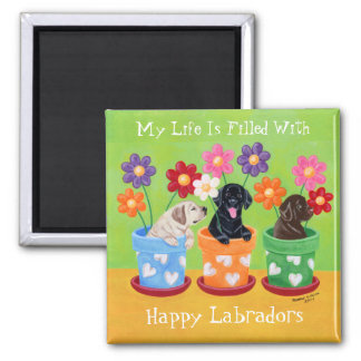 Flower Pot Labrador Puppies 2 Inch Square Magnet
