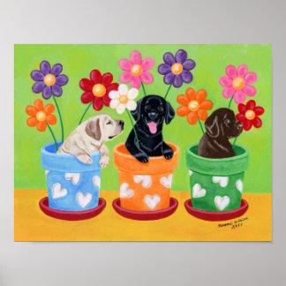 Flower Pot Labrador Puppies Artwork Print