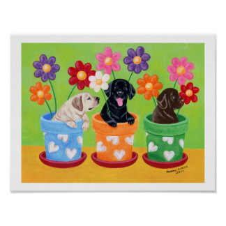 Flower Pot Labrador Puppies Artwork Posters