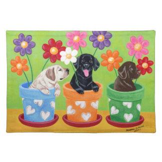 Flower Pot Labrador Puppies Cloth Placemat