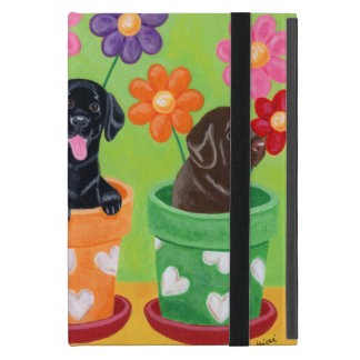 Flower Pot Labrador Puppies Cover For iPad Mini