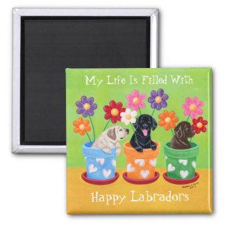 Flower Pot Labrador Puppies Magnet