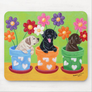 Flower Pot Labrador Puppies Mouse Pad