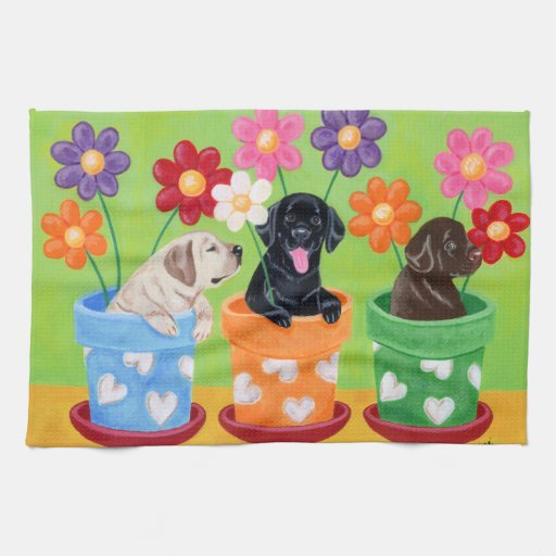 Flower Pot Labrador Puppies Painting Hand Towels