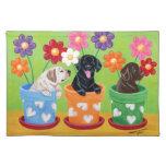 Flower Pot Labrador Puppies Place Mats