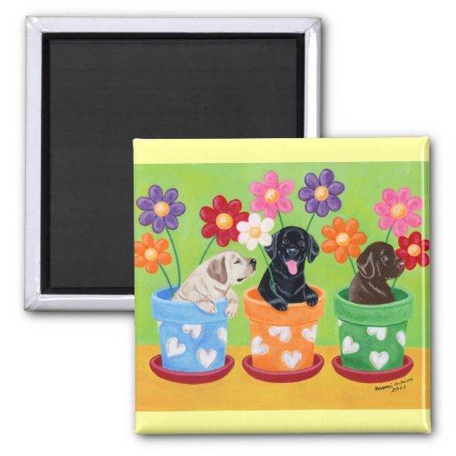 Flower Pot Labrador Puppies Refrigerator Magnet