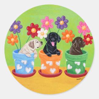 Flower Pot Labrador Puppies Stickers