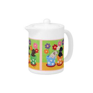 Flower Pot Labrador Puppies Teapot