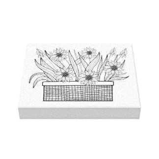 Flower Pot Line Art Design Canvas Print