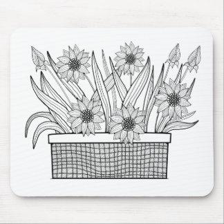 Flower Pot Line Art Design Mouse Pad
